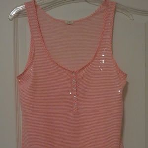 J Crew Orange Clear Sequin Shimmer Tank Top